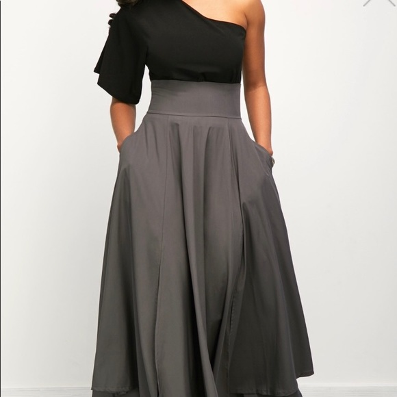 efb9dfc8d38 One Shoulder Top and Belted High Waist Skirt